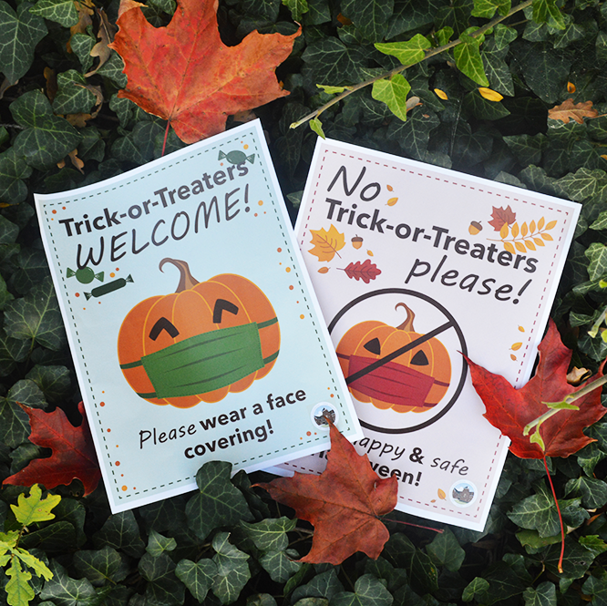 Signs for trick-or-treating