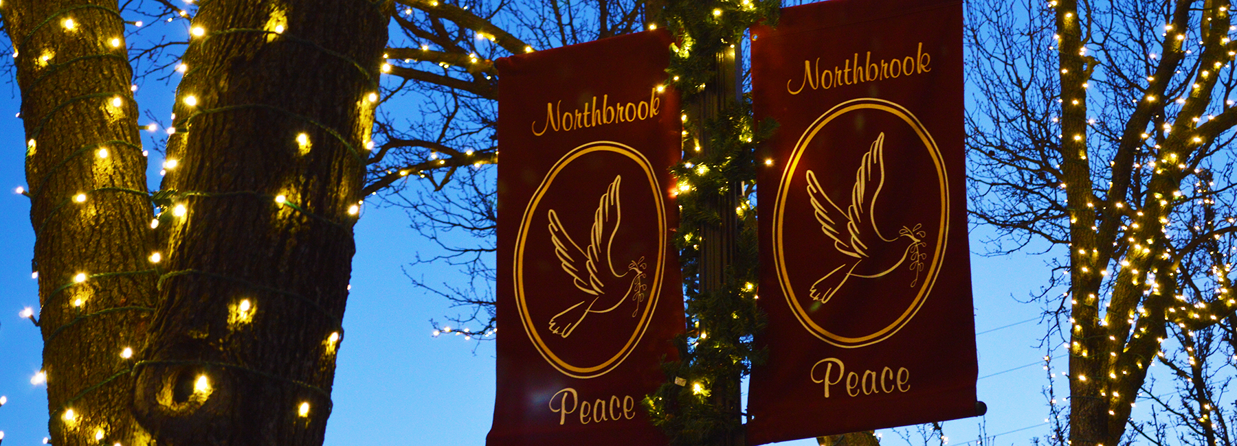 "Downtown holiday lights and light pole banners that say ""peace"""