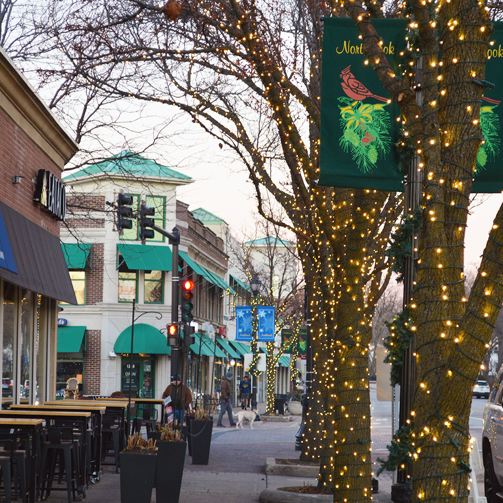 Downtown Northbrook with holiday lights on the trees