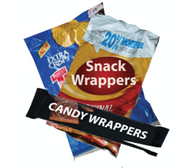 Chips bags and a candy bar wrapper